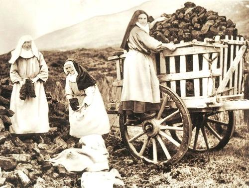 Irish nuns gathering turf, Irish bog, turf, nuns, Ireland