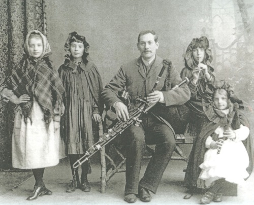 Music Teacher, Irish bagpipe, Irish dancers, 1904 County Cork